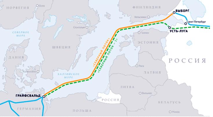 Карта-Северный поток 2